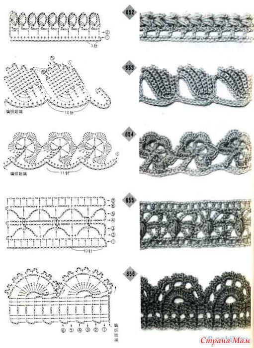 Схемы отделки крючком