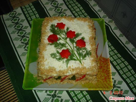 Закусочный торт с консервой рецепт