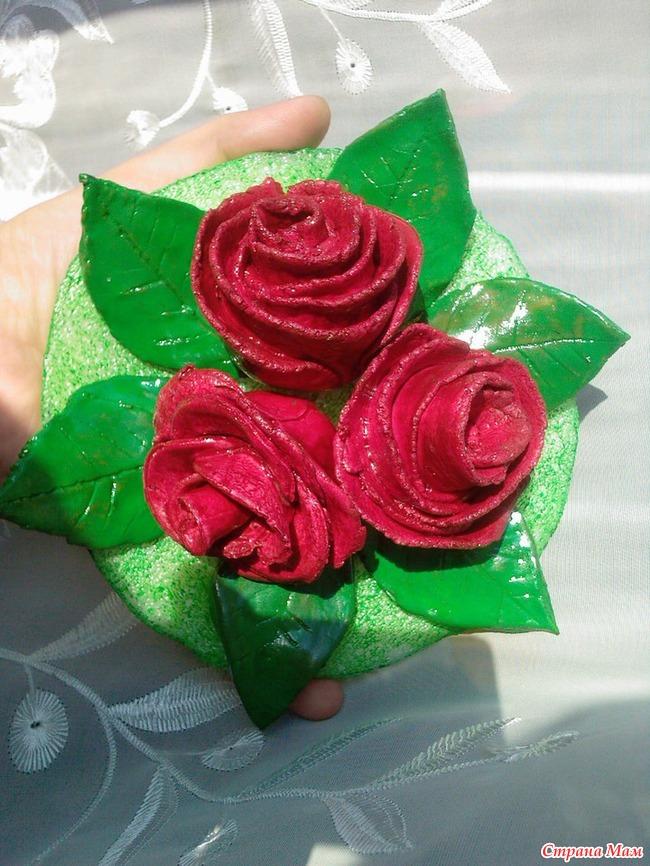 Розы из теста поделка