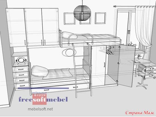 схема двухъярусной кровати.