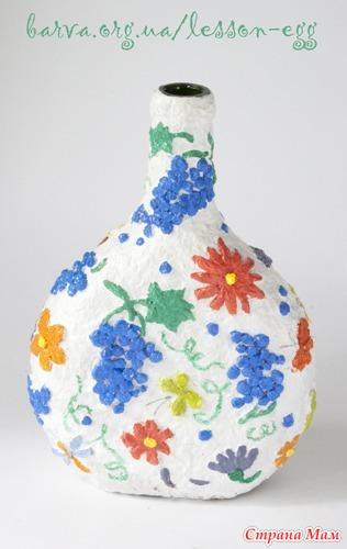 Ваза из пластиковых бутылок и папье маше своими руками