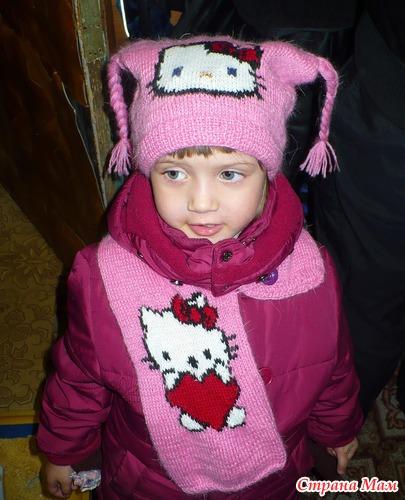 Шапочка и шарфик с HELLO KITTY