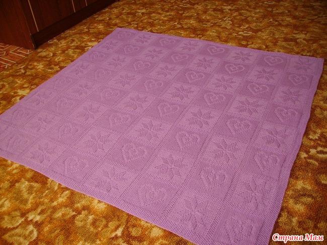 Плед с сердечками спицами теневое вязание 25