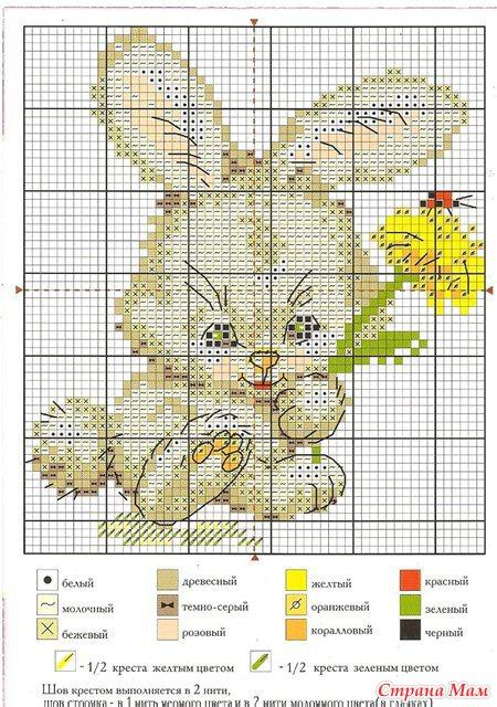 Схемы вышивки зайчата