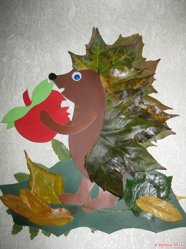 Поделка ёжик с листьями 84