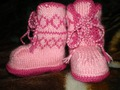 Как связать пинетки-сапожки на двух спицах - 2 / How to knit baby. .  Пинетки Розовые - вязание спицами by Лилия...