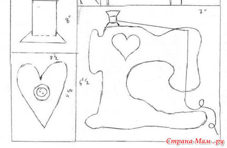 """Схема выкройки игольницы """"Швейная машинка&quot."""