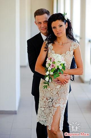 Вязаные крючком свадебные платья