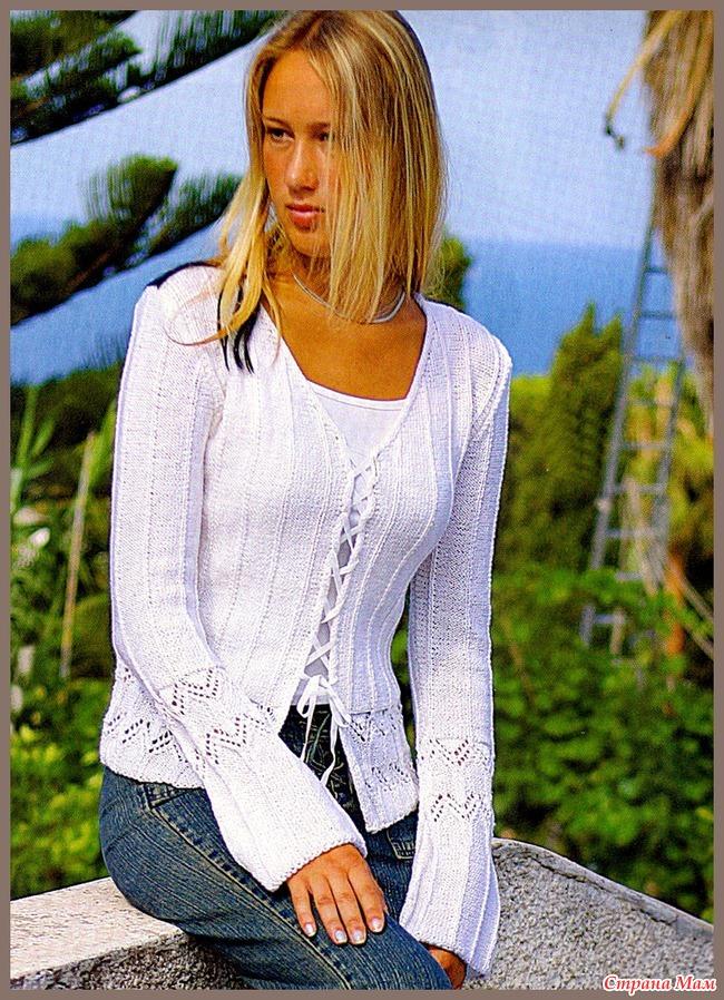вязание белой ажурной кофточки спицами