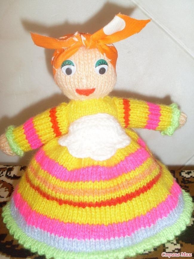 Вязаная кукла грелка на чайник своими руками 1