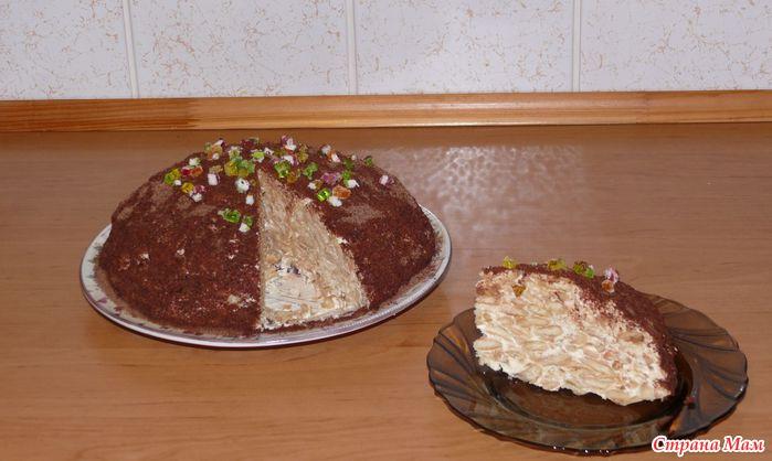 Торт из рыбок крекера и сметаны