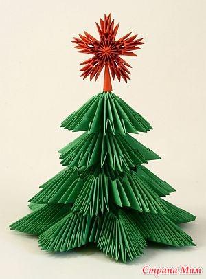 Как сделать из модулей оригами елочка