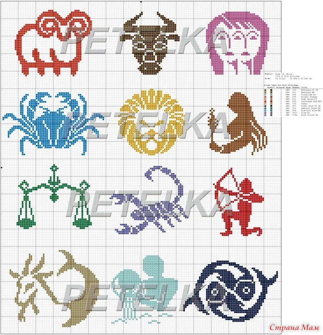 Знаки зодиака схемы вышивки