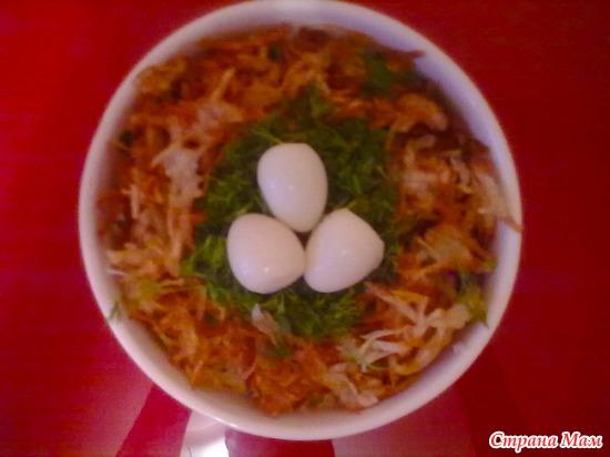 Салат гнездо глухаря с фото кулинарный рецепт