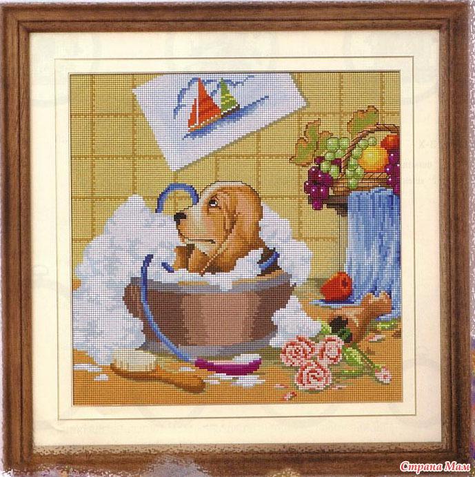 Схемы вышивки крестом собаки