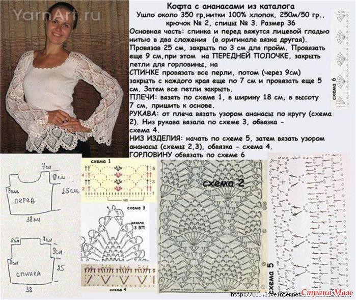 Вязание крючком кофты для женщин схемы с подробным описанием