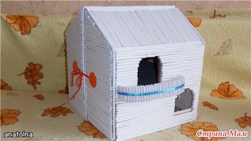 Как сделать домик из бумаги бревенчатый