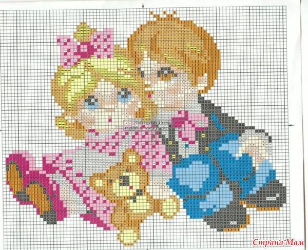 Схемы вышивки крестом девочка и мальчик 28
