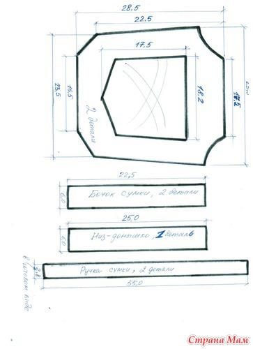 Схема выкройки сумки