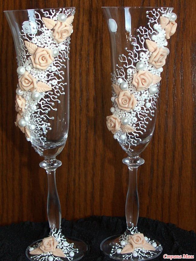 Свадебные бокалы мастер класс своими руками фото