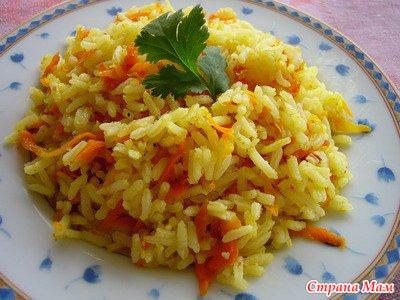 как приготовить рассыпчатый рис на гарнир с луком и морковью