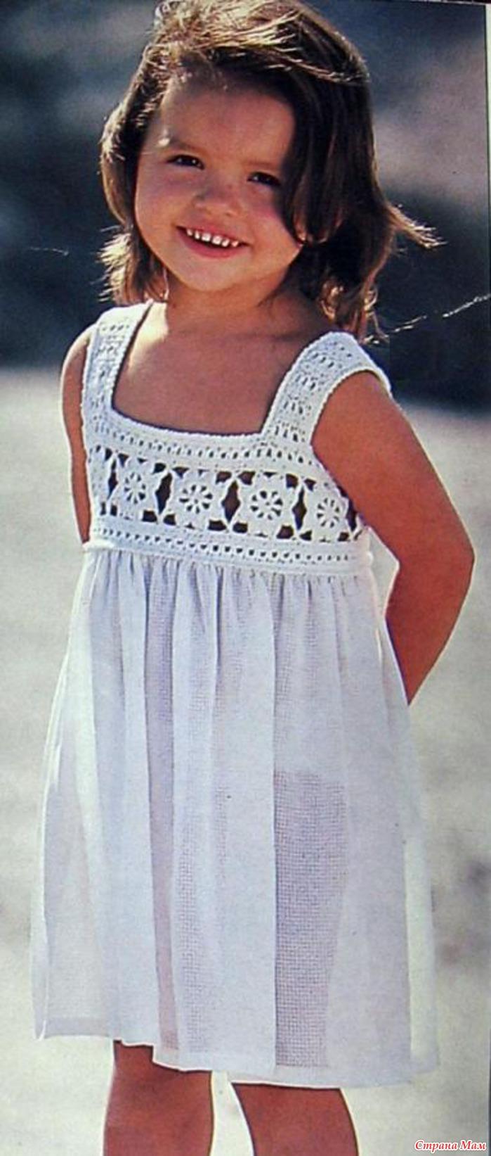 Вязание платья для девочек с кокеткой 280