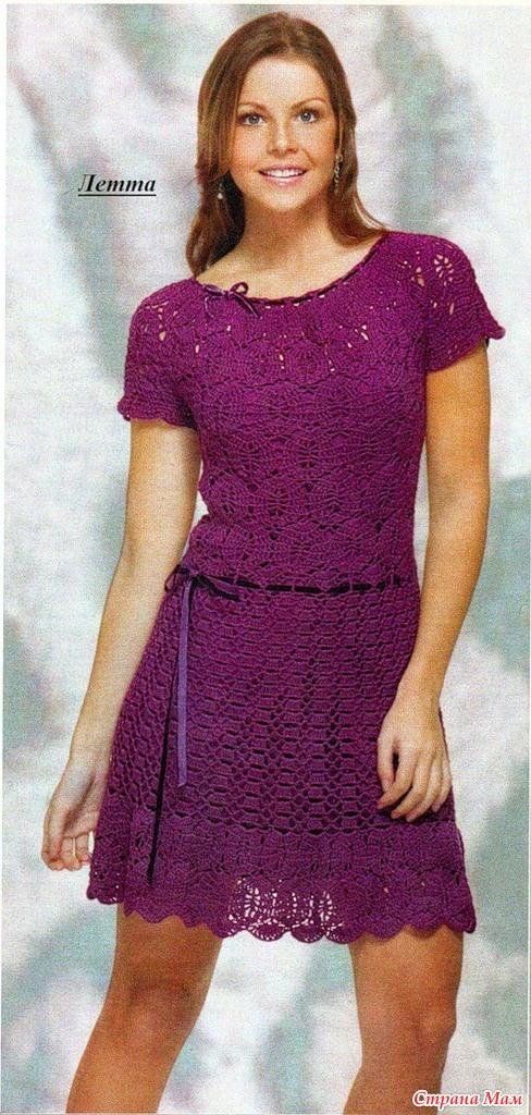 Фото вязаные платье крючком