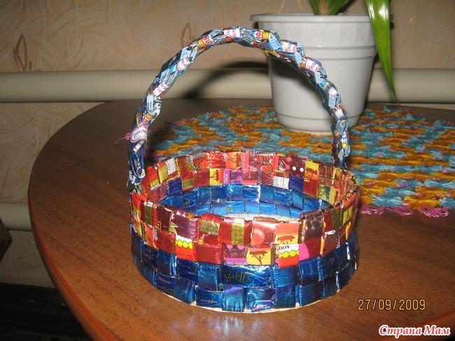 Корзинка из конфет своими руками пошаговое фото для начинающих