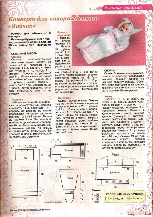 Схема вязания конверта для новорождённого