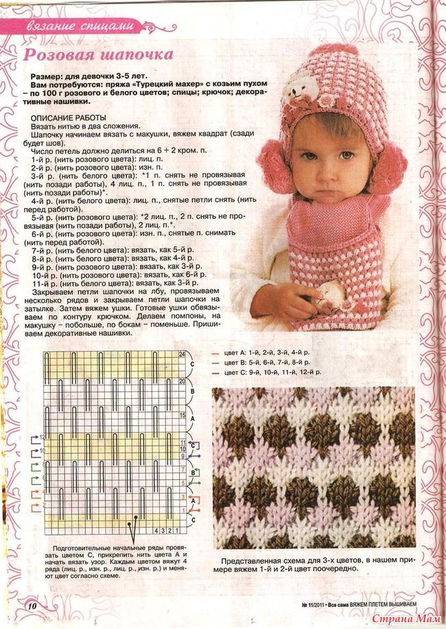Шапки вязание схемы девочками 713