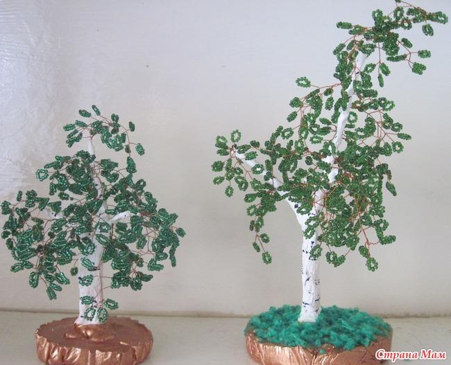 Простые деревья из бисера своими руками