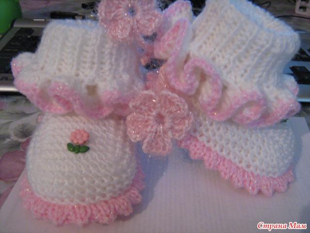 Вязание для новорожденных девочек пинетки спицами 52
