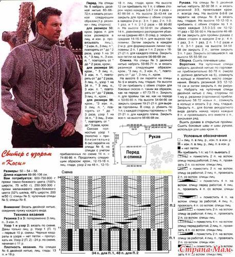 Мужские свитера на спицах схемы и узоры