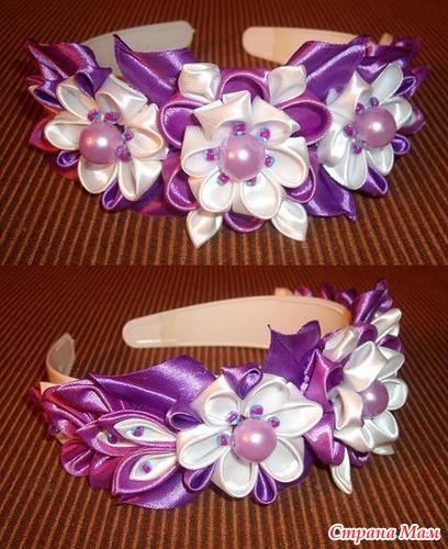 Цветы из лент на ободок своими руками мастер класс канзаши 9
