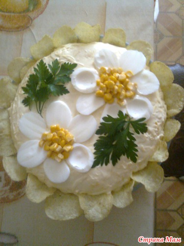 Как сделать ромашки для украшения салатов