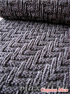 Вязаный шарф. Эффектный мужской узор спицами.
