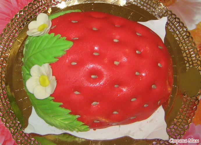 Фото украсить торт клубникой пошагово