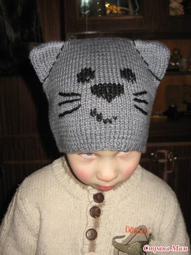 Вязание шапки мальчику с ушками