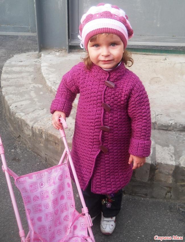 Вязание детского пальто для девочек крючком 748