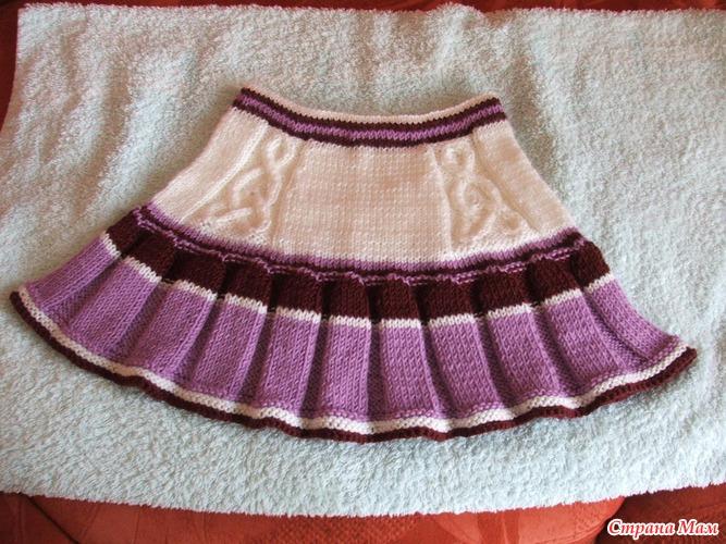 вязанные детские юбки спицами.