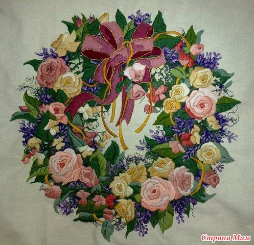 Вышивка розы dimensions
