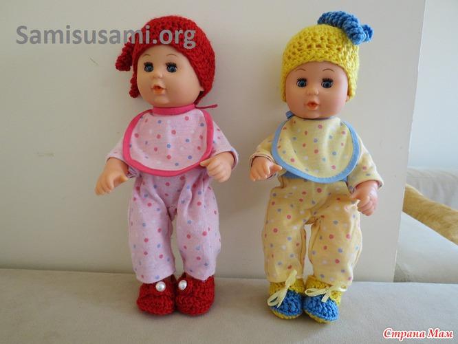 шапочка и шарф для куклы