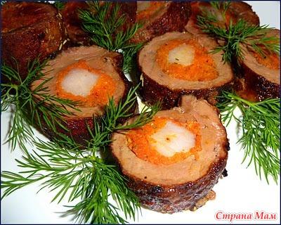 Рулеты из печени говяжьей рецепты фото