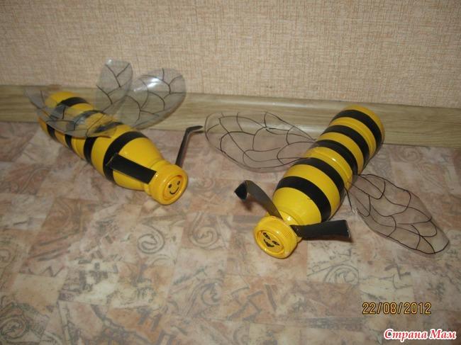 Пчёлки из пластиковых бутылок своими руками 81