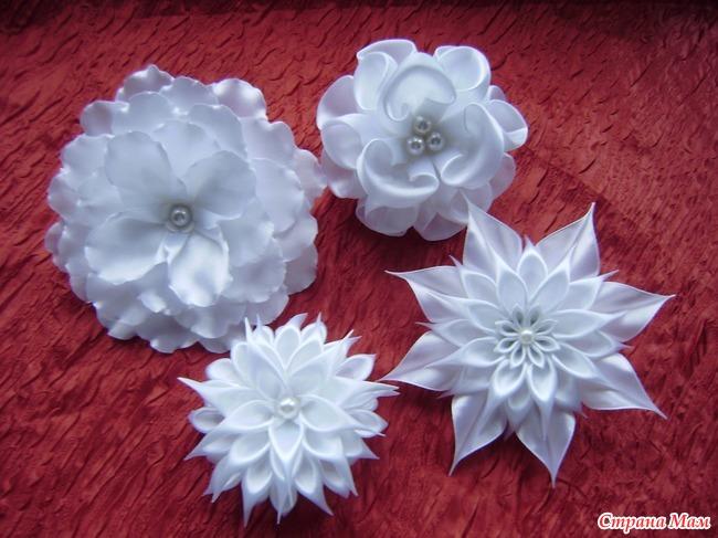 Сделать белые канзаши своими руками: банты, резинки