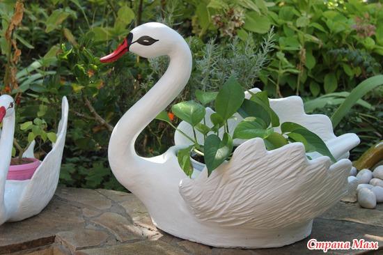 Гипсовые фигуры для сада своими руками лебедь