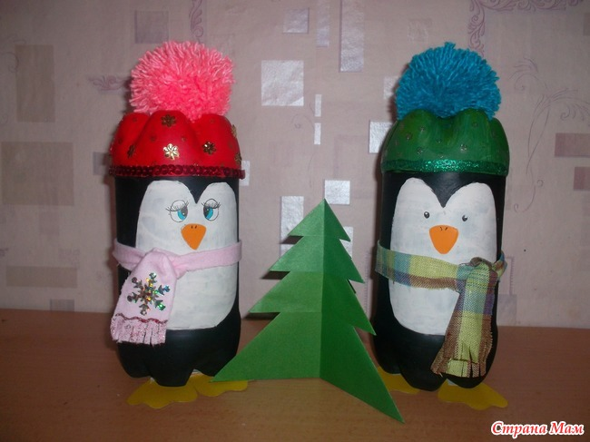 Поделки из пластмассовых бутылок на новый год