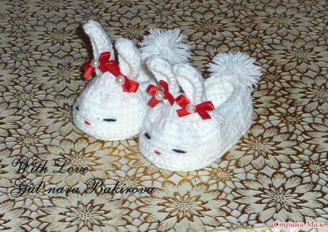 Вязание пинетки зайки