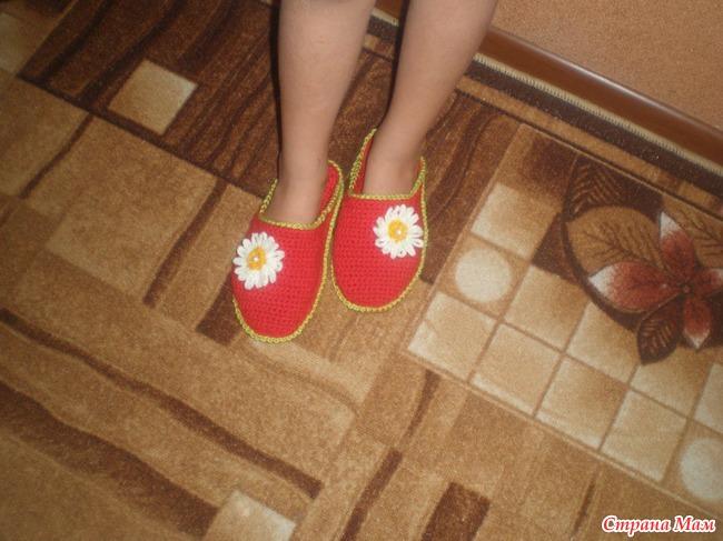 Утепленные ножки вяжем тапочки
