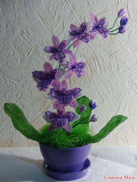 Орхидея из бисера - Бисерное